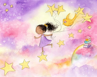 Running Across Stars - African American Girl with Curly Hair Reading - Fine Art Print