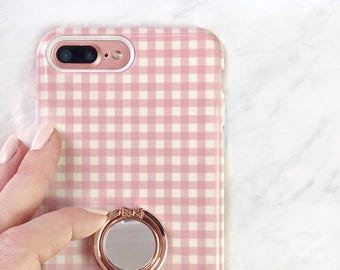 Pink Gingham Case and Bow Ring Phone Grip - Spring iPhone Case and Samsung Galaxy Stand Holder for Smartphones