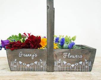 Personalised Floral Wooden Garden Trug
