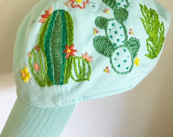 Cacti Embroidery. Embroidered Cap. Hat for Women. Adjustable Cap. Cotton Embroidery. Embroidery hat. cactus embroidery. Aqua baseball cap