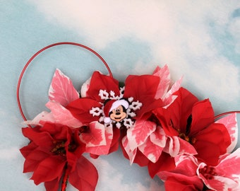 Christmas Mickey Ears   Minnie Mouse Ears  Mickey Ears   Flower Crown Mickey Ears   Womens Mickey Ears   Mickey Ear Headband