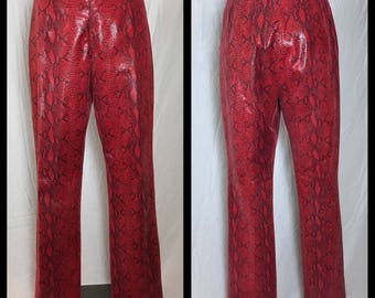 90s Red Leather Pants with Snakeskin Print by Classiques Entier- Size 10
