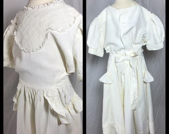 1950s Mitzi Frock Little Girl's White Party Dress with Short Puff Sleeves - Size 8