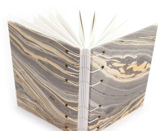 Marbled Blank Journal -  Handmade book with gray and gold paper covers by Ruth Bleakley