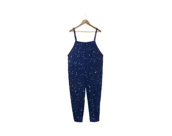 Night Sky Overalls - Minimalist Jumpsuit, Oversized Simple Romper, Vintage Harem Pants in Splatter Painted Navy - Unisex Size S-5XL
