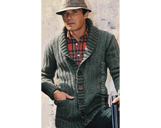 Mens Cardigan Knitting Pattern Shawl Collar Sweater Instant Download PDF Pattern
