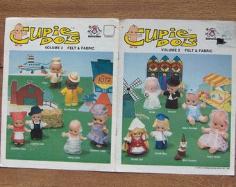 vintage 80s sewing pattern CUPIE doll clothes in felt and fabric volume 2