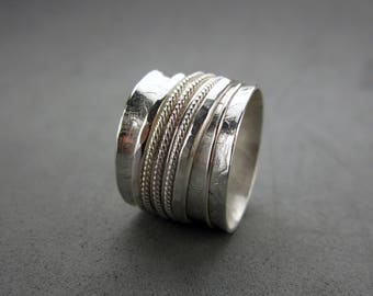 Spinner Ring Worry Ring Sterling Silver, size 5.5