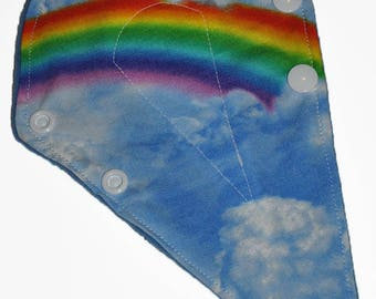 Liner Core- Rainbow Clouds Reusable Cloth Thong Liner Pad- Windpro Fleece- 8 Inches