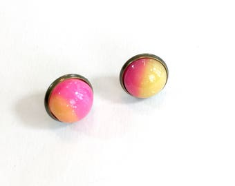 Strawberry Lemonade stud earrings. Hot pink and yellow earrings. Glittery earrings. Resin stud earrings. Party accessories. Gifts under 10.