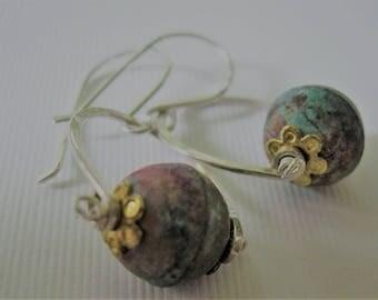 Mermaid's Earrings--Patinaed Copper Beads on Silver