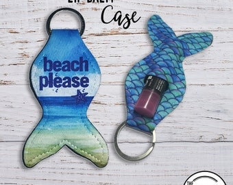 Mermaid Tail Lip Balm Keychain Case, Beach Please Blue Purple Scale  Lipstick Key Ring Carrying Cozy