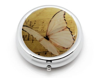 White Butterfly Pill Box, Pill Container, Pill Case, Pill Holder, Medicine Box, Gift for Her