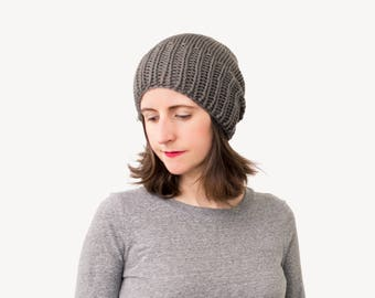 Slouchy Knit Hat, Women's Chunky Knitted Wool Beanie, Winter Ski Hat, Timbers Hat