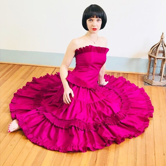 Pink taffeta dress, 80s prom dress, Full circle skirt, Strapless ruffle dress, Fuschia Satin dress, 1980s Formal Dance, corset dress, 8 M