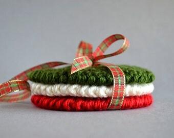 Christmas Coasters Crochet Pattern, Christmas Crochet Pattern, Christmas Crochet Ornaments, Christmas Crochet Decor, Crochet Coaster Pattern