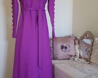 vintage purple dress, 1970s maxi dress, georgian shape, EXCEPTIONAL buttoned sleeves, puff shoulders,