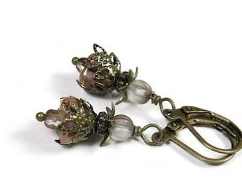 Vintage Style, Flower Earrings, Czech Glass, Antiqued Brass, Petite Dangle Earrings, Feminine Jewelry, Gifts for Her, Womens Accessories