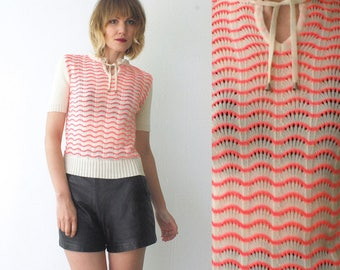 70s knit top. cream and neon pink pointelle knit top with tie neck - xs, small