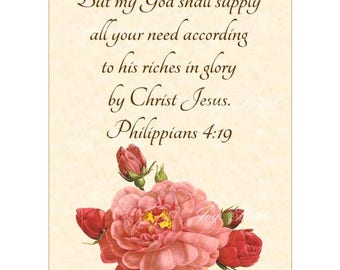 GOD WILL SUPPLY Philippians 4:19 Christian Home Decor Wall Art Vintage Verses Vintage Pink Rose of Orleans Floral Art 5x7 Inspirational Art