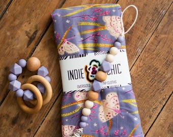 Pacifier Clips - Plum Purple & Wood - Fall Winter Collection