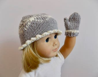 Doll Hat and Mitten Set, 18 Inch Doll Accessories, Doll Gloves, Doll Mittens, Gray Doll Hat, Snowflake Doll Hat