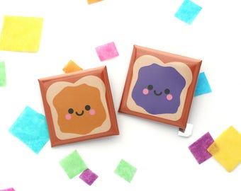 Peanut Butter and Jelly Sandwich Badges, Square 38mm Button Badge, Best Friends Gift, Valentines Gift