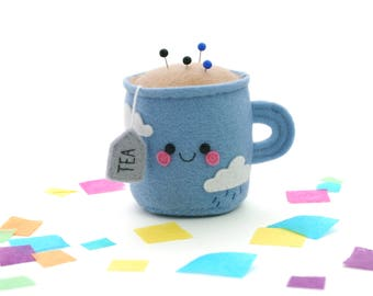Teacup Pincushion with Rain Clouds, Felt Pincushion, Limited Edition, 3D Tea, Kawaii British Accessory