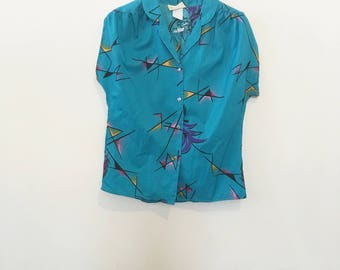 80's Abstract Pop Blouse