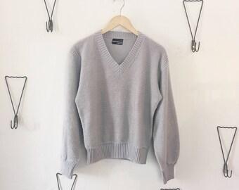 80's Grey V-Neck Pullover