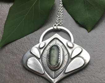Moss Aquamarine Leaf Pendant Necklace - Sterling Silver and Gemstone Necklace - Handmade Sterling Silver Jewelry - Botanical Jewelry