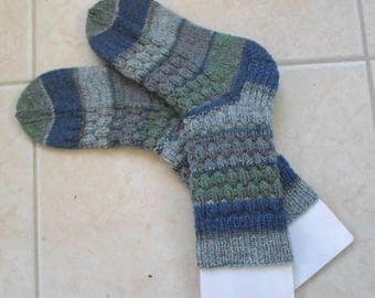 Socks - Hand Knitted Socks - Selfstriping in the Colors of Blue - Green - Grey - Unisex Size 3.5-5 US