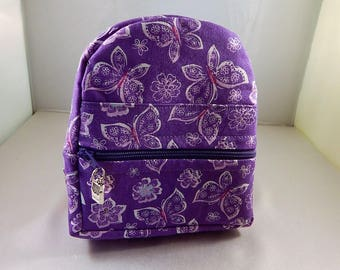 Mini backpack Child Teen School Pretend Play Purple Butterfly Print Ready to ship Accessories Pencil Bag Set