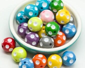 Round Acrylic Beads, 20x19mm, 3mm Hole, Mixed Colors, Round Beads, 20pcs -B423