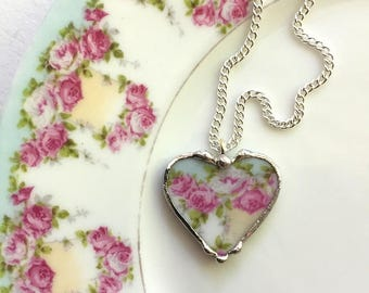 Broken china jewelry - heart pendant necklace - antique porcelain - with fluffy pink cabbage roses