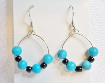 Silver Dangle Earrings in Turquiose and Black