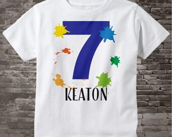 7th Birthday Shirt, Paint Themed Seventh Birthday Shirt, Number 7, Personalized Boy's Birthday T-shirt, Seven Year Old Kids Tee | 02282017b