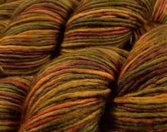Hand Dyed Yarn - DK Weight Superwash Merino Wool Singles Yarn - Antique Brass - Indie Dyed Knitting Yarn, Wool Yarn, Single Ply Yarn, Gold