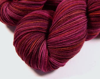Hand Dyed Yarn - Sock Weight 4 Ply Superwash Merino Wool Yarn - Merlot Multi - Indie Dyed Knitting Yarn, Sock Yarn, Burgundy, Red