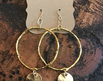open circle earrings with disc