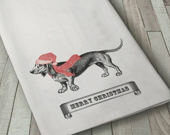Doxie Towel, Dachshund Towel, Christmas Doxie Towel, Dog Towel, Christmas Towel, Flour Sack Towel, Dachshund, Kitchen Towel, Cotton Towel