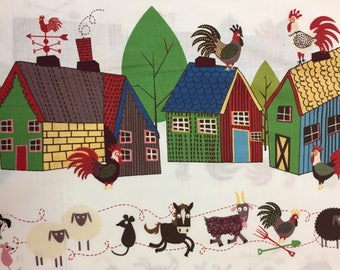 """The Beginning Fabrics """"HOME TO ROOST"""" Farmyard Horses, Cows, Roosters, Piggies, Sheep, Mice, Goats Doin the Do they Do so Well//Border Print"""