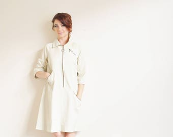 retro taupe trench coat dress . very mod squad . diagonal zippers .medium .donate good cause .sale