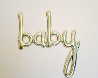 BABY Script Balloon, White Gold Balloon, White Gold Baby Balloon, Scrip Balloons, Word balloons, Baby Balloon, Script Balloon, Gold Baby