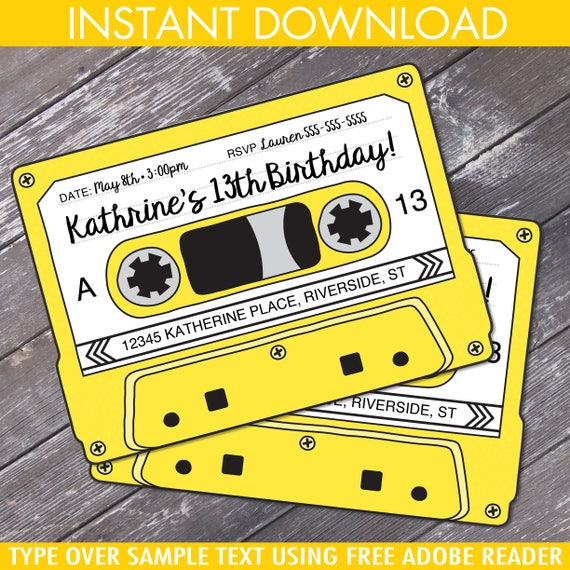Cassette Tape Invitations Retro Party 80s Party Invitation