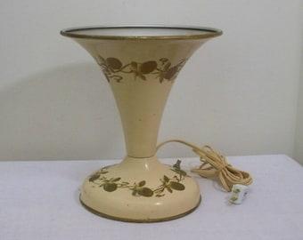 Vintage Trumpet Toleware Lamp - Hand Painted Mid Century
