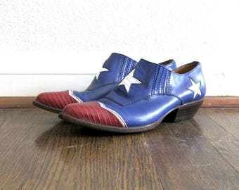 American Flag Booties / Western Star Boots / 90s Shoes Sz 6