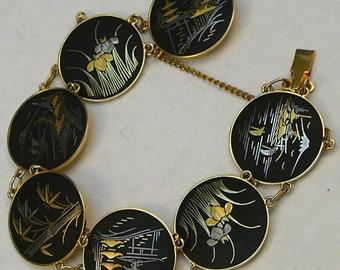 Vintage Japanese Damascene Bracelet Metal Scenes Panel Bracelet