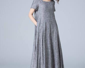 gray dress, shift dress, loose fitting dress, pleated dress, high low dress, asymmetrical dress, womens dresses, plus size dress 1776