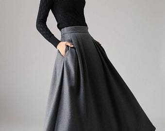 Wool skirt, a line skirt, winter skirt, long skirt, pleated skirt, dark grey skirt, pocket skirt, high waisted skirt, fitted skirt (1091)